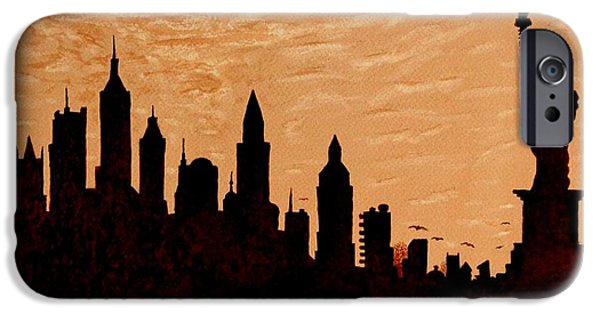 Statue Of Liberty Paintings iPhone Cases - New York City Sunset Silhouette iPhone Case by Georgeta  Blanaru
