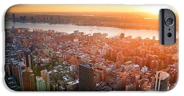Hudson River iPhone Cases - New York City sunset iPhone Case by Songquan Deng