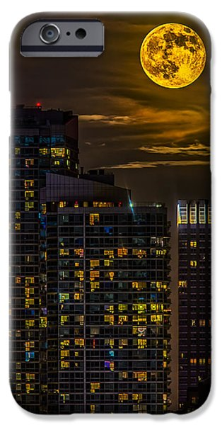 Full Moon iPhone Cases - New York City Super Moon iPhone Case by Susan Candelario