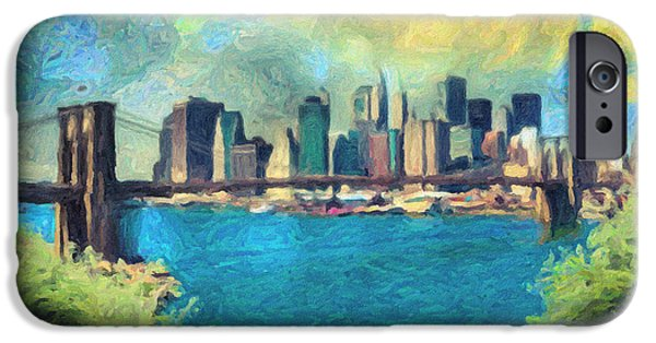 Statue Of Liberty Paintings iPhone Cases - New York City iPhone Case by Taylan Soyturk