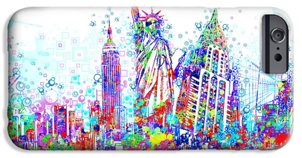 Empire State iPhone Cases - New York City tribute 3 iPhone Case by MB Art factory