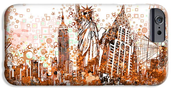 Statue Portrait iPhone Cases - New York City tribute 4 iPhone Case by MB Art factory