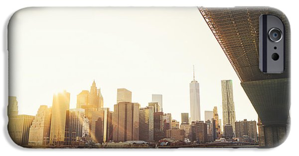 Freedom iPhone Cases - New York City - Under the Brooklyn Bridge - Skyline Sunset  iPhone Case by Vivienne Gucwa
