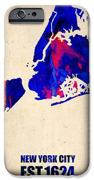New York City Digital Art iPhone Cases - New York City Watercolor Map 1 iPhone Case by Naxart Studio