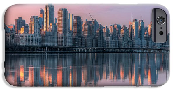Hudson River iPhone Cases - New York City West Side Dawn I iPhone Case by Clarence Holmes