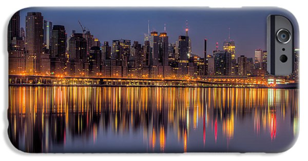 Hudson River iPhone Cases - New York City West Side Morning Twilight I iPhone Case by Clarence Holmes