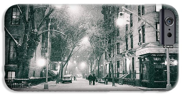 Village iPhone Cases - New York City - Winter Night in the West Village iPhone Case by Vivienne Gucwa
