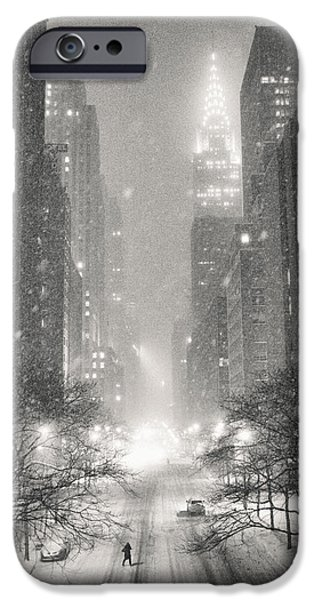 Chrysler iPhone Cases - New York City - Winter Night Overlooking the Chrysler Building iPhone Case by Vivienne Gucwa