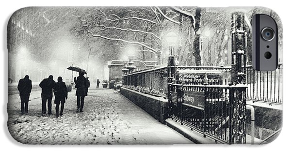 Bryant Photographs iPhone Cases - New York City - Winter - Snow at Night iPhone Case by Vivienne Gucwa