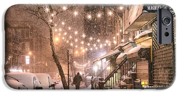 Nyc iPhone Cases - New York City - Winter Snow Scene - East Village iPhone Case by Vivienne Gucwa