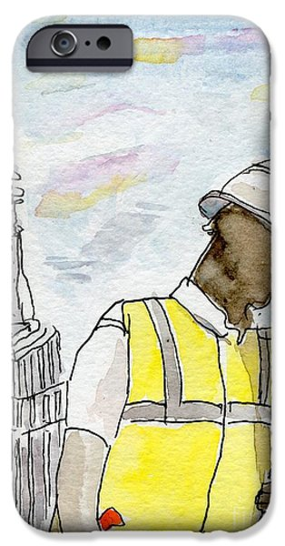 Empire State iPhone Cases - New York Construction Worker iPhone Case by Andrea Rubinstein
