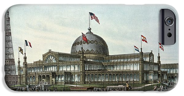 Base iPhone Cases - New York Crystal Palace, Built For World Fair In 1853 Colour Litho iPhone Case by Sydney Currie