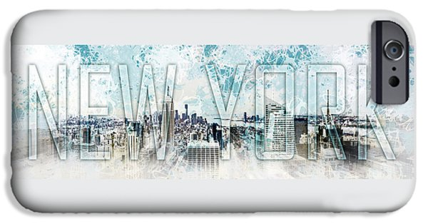Empire State Digital iPhone Cases - NEW YORK Digital-Art No.1 iPhone Case by Melanie Viola