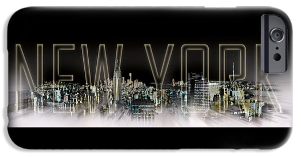 Empire State Digital iPhone Cases - NEW YORK Digital-Art No.2 iPhone Case by Melanie Viola