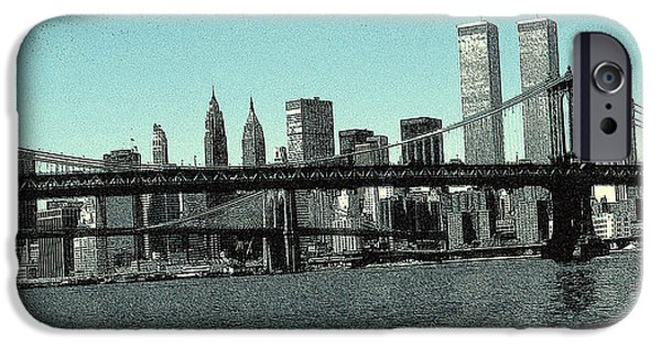 Brooklyn Bridge Mixed Media iPhone Cases - New York Downtown Manhattan Skyline 2 - Drawing iPhone Case by Peter Fine Art Gallery  - Paintings Photos Digital Art