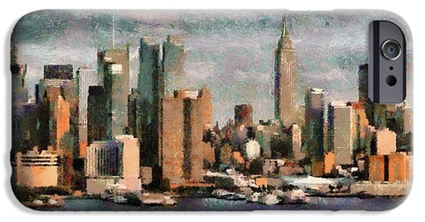 Twin Towers Nyc Paintings iPhone Cases - New York iPhone Case by Georgi Dimitrov