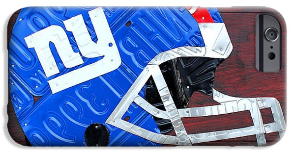 Football Mixed Media iPhone Cases - New York Giants NFL Football Helmet License Plate Art iPhone Case by Design Turnpike
