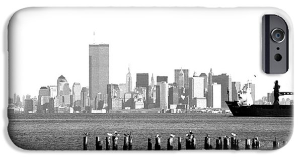 Twin Towers Nyc iPhone Cases - New York Harbor 1990s iPhone Case by John Rizzuto