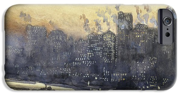 Evening Drawings iPhone Cases - New York harbor and skyline at night circa 1921 iPhone Case by Aged Pixel