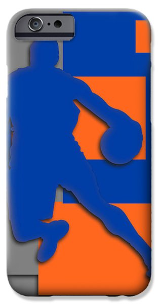 Dunk iPhone Cases - New York Knicks Art iPhone Case by Joe Hamilton
