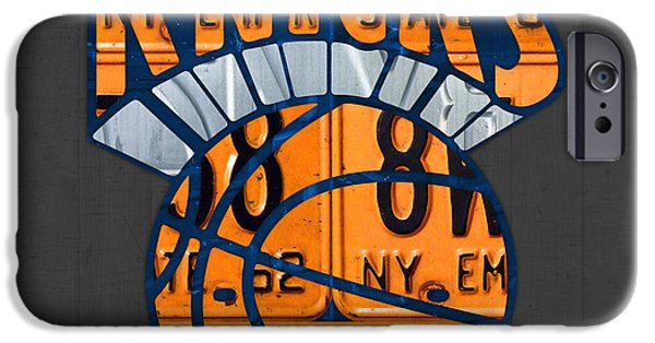 Basketball Team iPhone Cases - New York Knicks Basketball Team Retro Logo Vintage Recycled New York License Plate Art iPhone Case by Design Turnpike