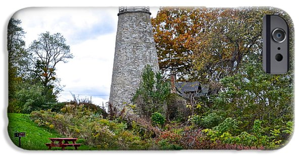 Old Maine Houses iPhone Cases - New York Lighthouse iPhone Case by Frozen in Time Fine Art Photography