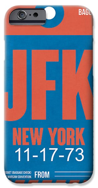 Town Mixed Media iPhone Cases - New York Luggage Tag Poster 1 iPhone Case by Naxart Studio