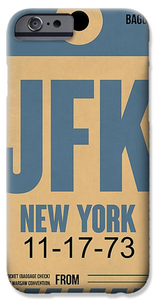 Town iPhone Cases - New York Luggage Tag Poster 2 iPhone Case by Naxart Studio