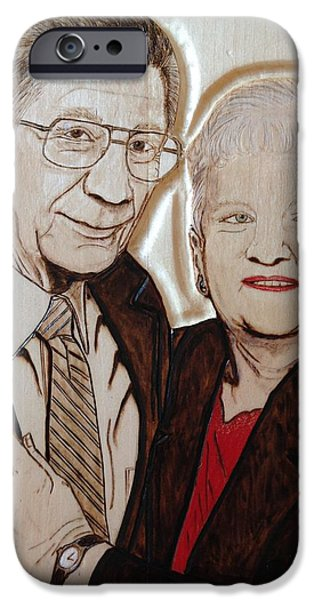 Couple Pyrography iPhone Cases - New York Ma and Pa iPhone Case by Lindsee Pitsch