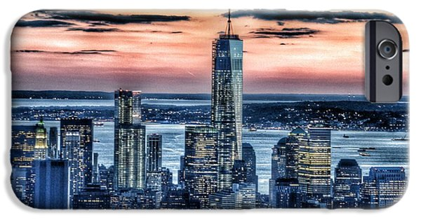 Strong America iPhone Cases - New York - Manhattan Landscape iPhone Case by Marianna Mills