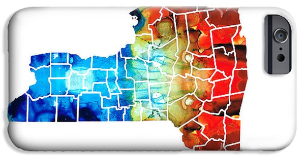 New York Mixed Media iPhone Cases - New York - Map By Sharon Cummings iPhone Case by Sharon Cummings