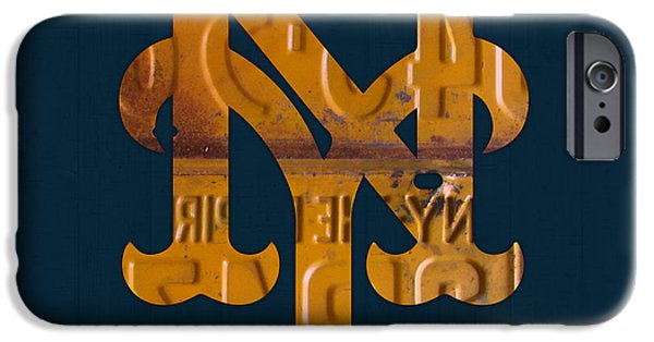 New York Mixed Media iPhone Cases - New York Mets Baseball Vintage Logo License Plate Art iPhone Case by Design Turnpike