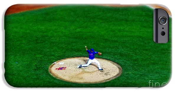 Mounds Digital iPhone Cases - New York Mets Pitcher Abstract iPhone Case by Nishanth Gopinathan
