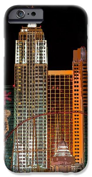 New York-New York Hotel Las Vegas - Pop Art Style iPhone Case by Ian Monk