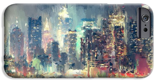 United States iPhone Cases - New York Night lights 2 iPhone Case by Yury Malkov