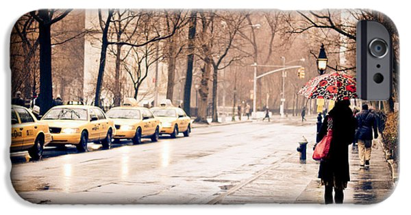 Rainy Day iPhone Cases - New York Rain - Greenwich Village iPhone Case by Vivienne Gucwa