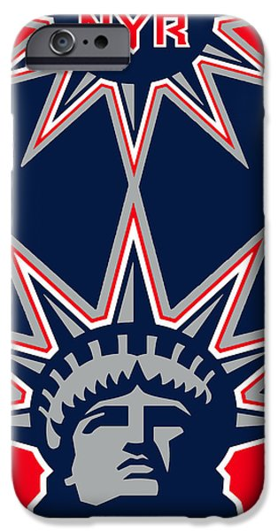 Hockey Paintings iPhone Cases - New York Rangers iPhone Case by Tony Rubino