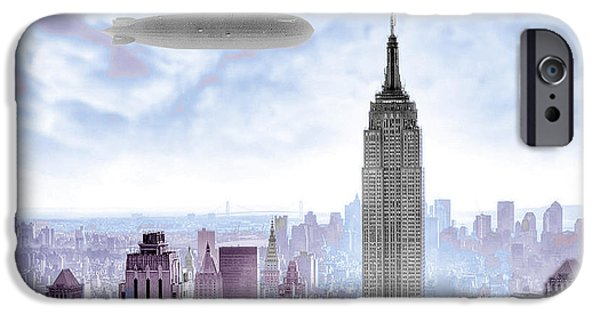 Empire State iPhone Cases - New York Skyline and Blimp iPhone Case by Tony Rubino