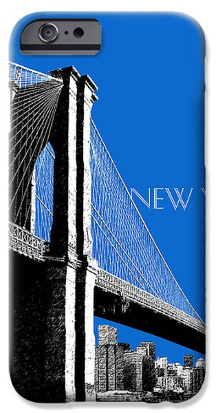Brooklyn Bridge Digital Art iPhone Cases - New York Skyline Brooklyn Bridge - Blue iPhone Case by DB Artist