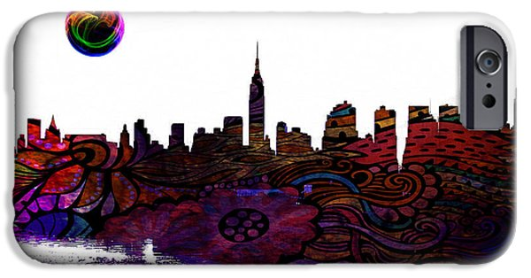 Sears Tower Paintings iPhone Cases - New York Skyline iPhone Case by Celestial Images