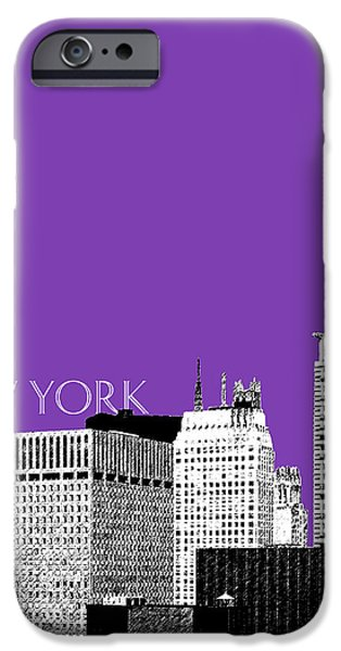 Mid-century Modern Decor iPhone Cases - New York Skyline Chrysler Building - Purple iPhone Case by DB Artist