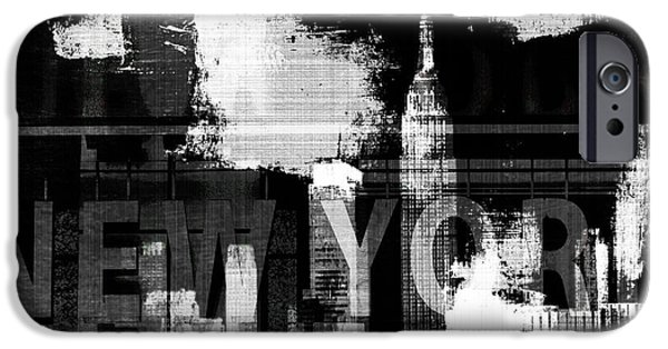 Buildings Mixed Media iPhone Cases - New York Skyline Collage  iPhone Case by Anahi DeCanio - ArtyZen Studios