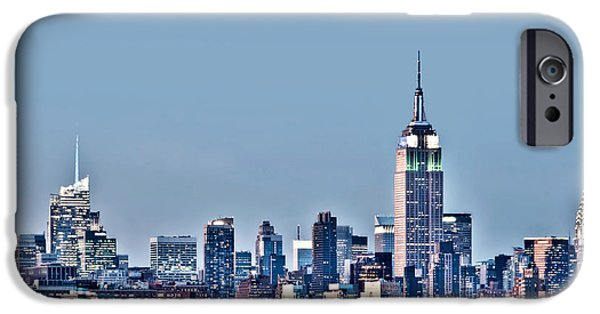 Hudson River iPhone Cases - New York skyline iPhone Case by Delphimages Photo Creations