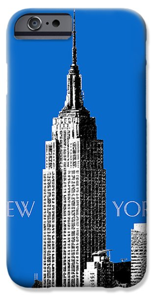 Pen And Ink Digital Art iPhone Cases - New York Skyline Empire State Building - Blue iPhone Case by DB Artist