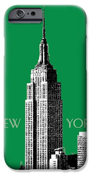 Pen And Ink Digital Art iPhone Cases - New York Skyline Empire State Building - Forest Green iPhone Case by DB Artist