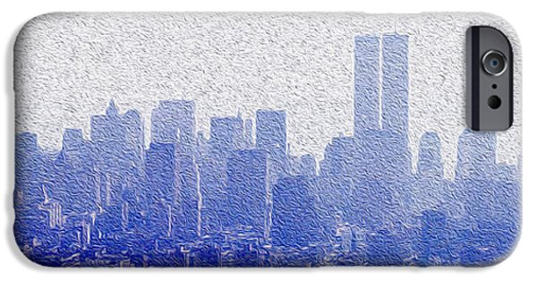 Buildings Mixed Media iPhone Cases - New York Skyline iPhone Case by Jon Neidert