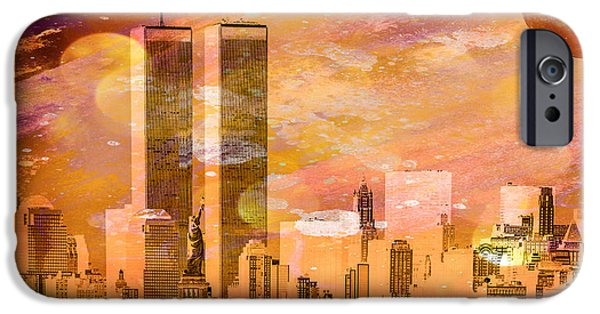 Twin Towers Nyc iPhone Cases - New York Skyline iPhone Case by Louis Ferreira