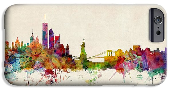 Watercolor iPhone Cases - New York Skyline iPhone Case by Michael Tompsett