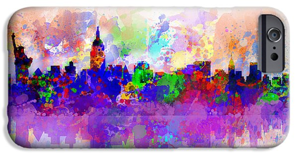 Modern Abstract iPhone Cases - New York Skyline Splats 3 iPhone Case by MB Art factory