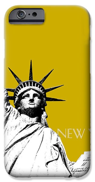 New York City Digital Art iPhone Cases - New York Skyline Statue of Liberty - Gold iPhone Case by DB Artist